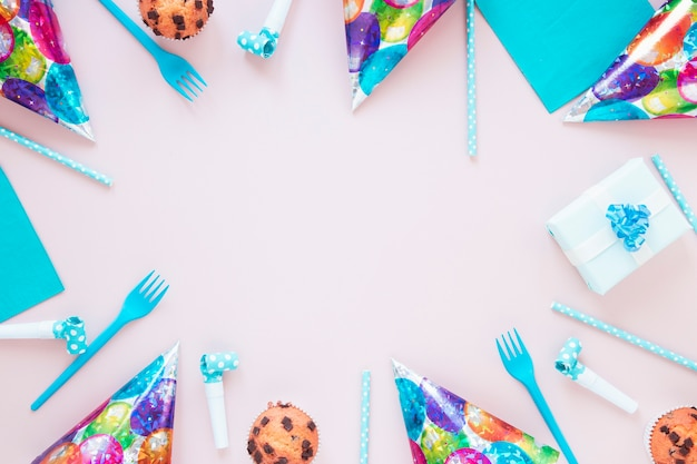 Festive composition with birthday items and copy space