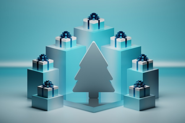 Festive composition with christmas tree and many gift boxes with glossy blue bows on pedestals