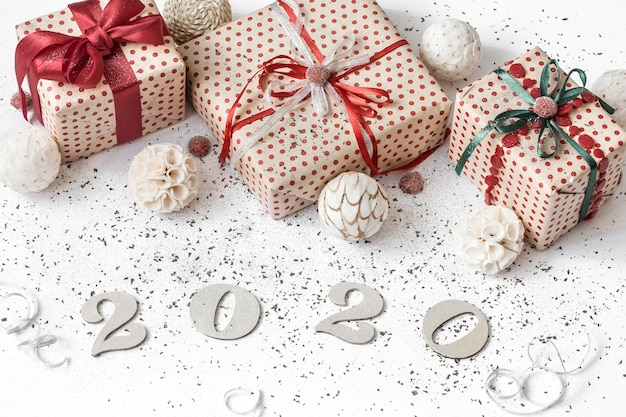 Festive composition with gift boxes