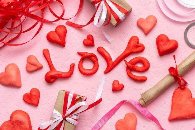 발렌타인 선물 및 마음 축제 개념.