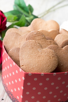 Festive cookies with hearts and roses for valentine's day,