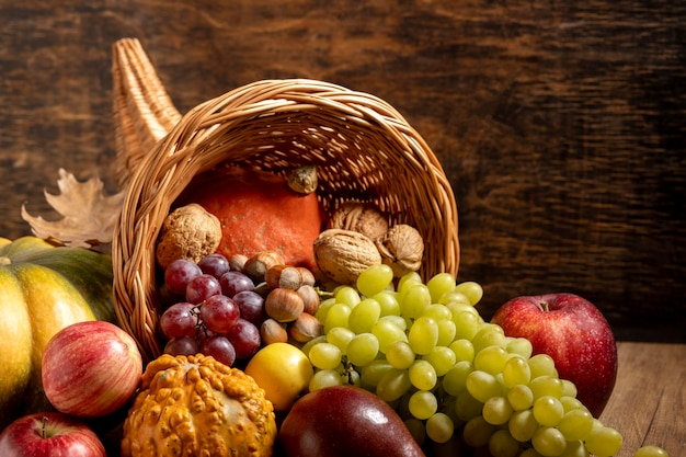 Festive cornucopia composition with delicious foods