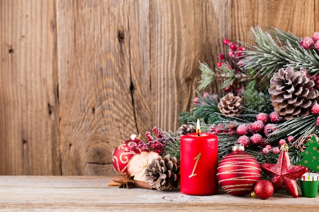 Festive decoration on wooden table with copy space