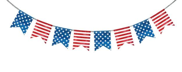 미국 국기의 국가 색으로 칠해진 축제 장식.