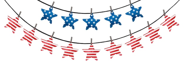 Festive decorations painted in the national colors of the american flag.