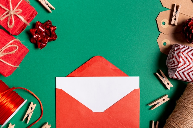 Festive envelope with empty card