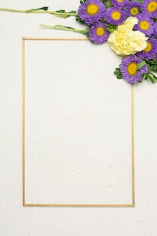 Festive flower composition with minimalist vertical frame