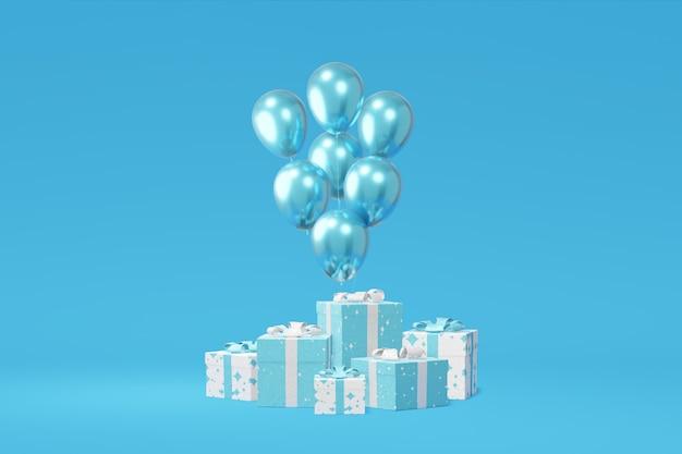 축제 선물 상자 프리젠 테이션, 3d 렌더링