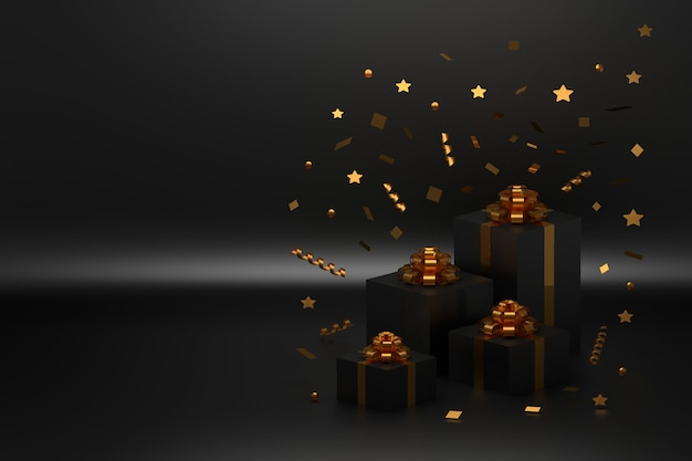 Festive gift boxes with golden bows and falling confetti on black surface