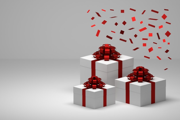 Festive gifts, presents with falling red confetti and boxes with red silky shiny bows