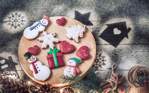 Festive gingerbread on a stick, the concept of cooking.