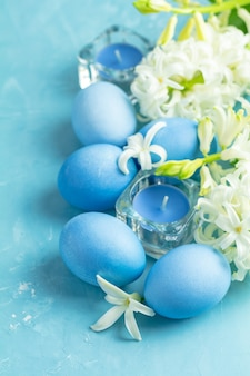 Festive, happy easter greeting card in blue style