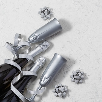 Festive holiday background with bottles of champagne and silver glasses decorated bright serpentine