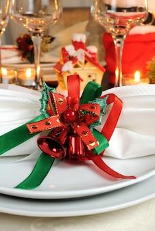 クリスマステーブルのお祝いナプキン