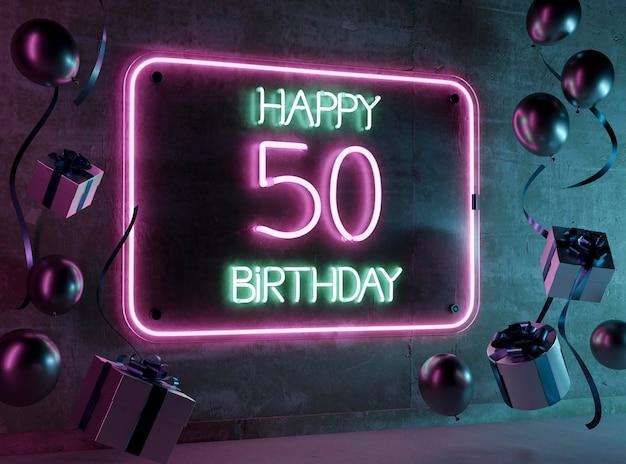 お祝いのネオン50歳の誕生日のアレンジメント