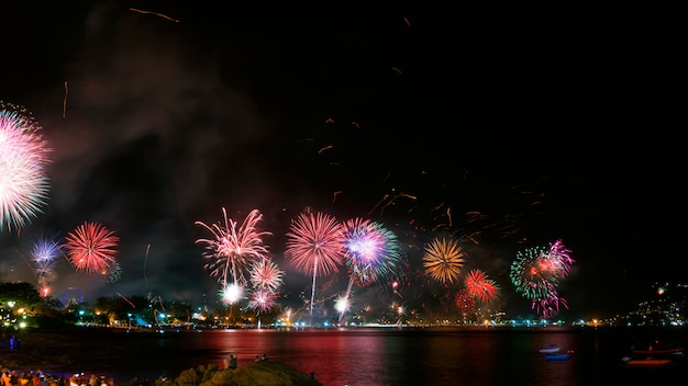 Festive new year 2019 with fireworks people celebrate new year day at patong city phuket thailand