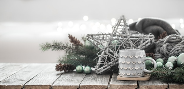 Sfondo festivo di capodanno in un'atmosfera familiare.