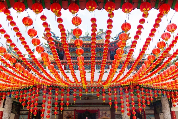 Festive new year decorations with chinese red lanterns of the chinese temple