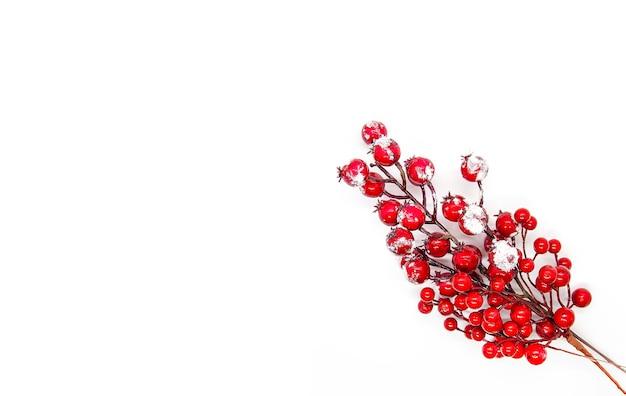 雪の中で赤いヒイラギ植物の果実とお祝いの新年やクリスマスの背景。
