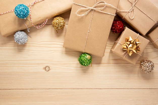 Festive packages with copy space