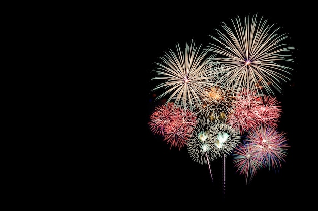 Festive patterned of colorful assorted firework bursting in various shapes sparkling picto