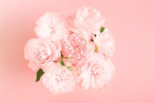 분홍색 배경에 축제 분홍색 꽃 영어 장미 구성입니다. 오버 헤드 평면도, 평면 누워. 공간을 복사합니다. 생일, 어머니, 발렌타인, 여성, 결혼식 날 컨셉입니다.