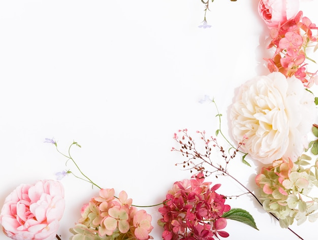 축제 분홍색 꽃 영어 장미, 흰색 배경에 수국 구성. 오버 헤드 평면도, 평면 누워. 공간을 복사합니다. 생일, 어머니, 발렌타인, 여성, 결혼식 날 컨셉입니다.
