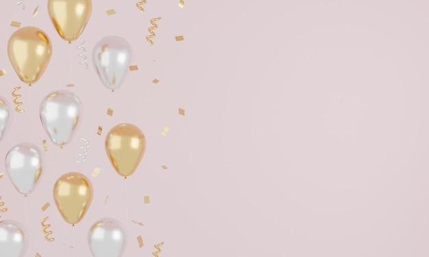 리본과 골드 반짝이 축제 현실적인 분홍색과 흰색 풍선 색상. 개념을 축하하십시오. 3d 렌더링.