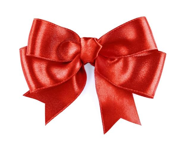 白い背景の上のお祝いの赤い弓