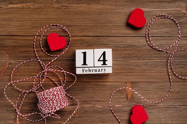 Festive romantic background on a wooden table concept for valentines day