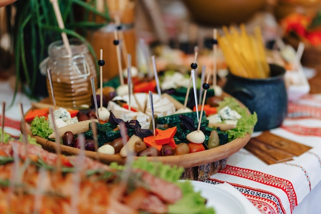 Festive salty buffet, fish, meat, chips, cheese balls and other specialties