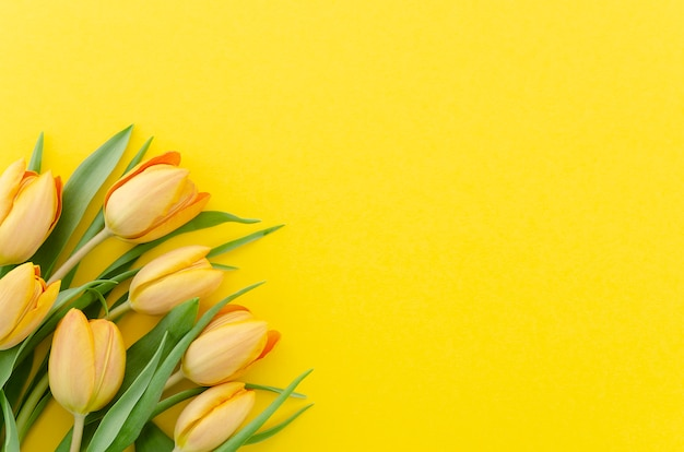 Festive summer background top view of a bouquet of fresh yellow tulip flowers