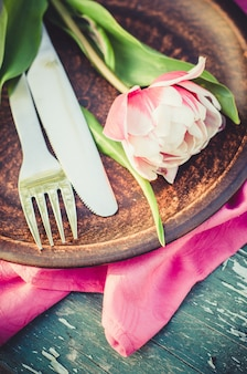 Festive table set for mother's day or birthday.