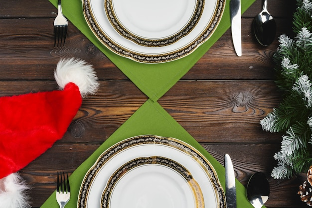 Festive table setting for christmas dinner