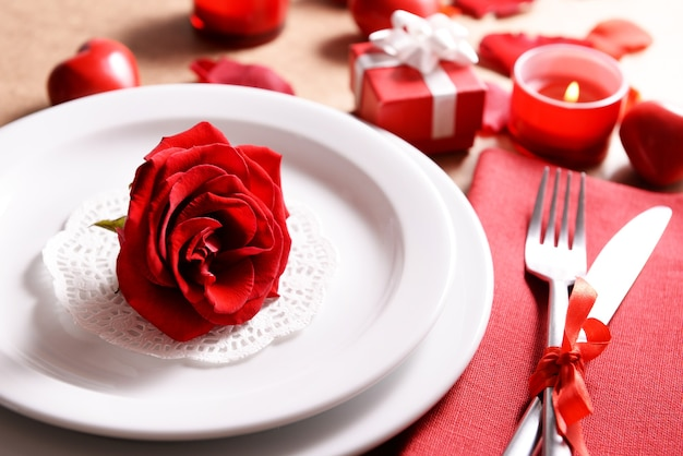 Festive table setting for valentines day on table