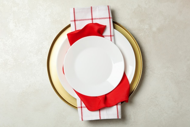Festive table setting on white