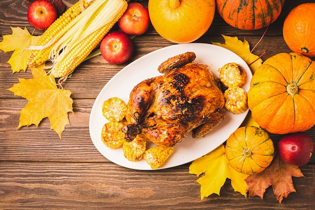 Festive turkey or chicken baked by thanksgiving on white plate and a harvest of seasonal vegetables: pumpkin corn apples