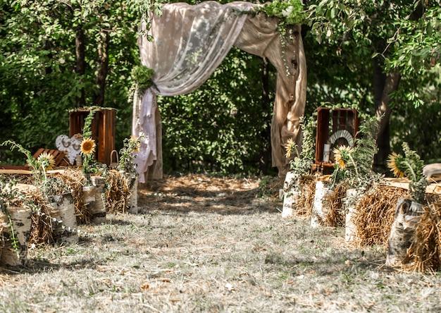Festive wedding arch