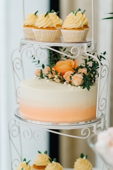白いアイシングクリームとお祝いの結婚式のスポンジケーキ