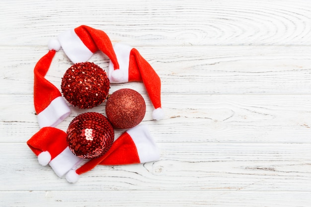 Festive winter composition on wooden background
