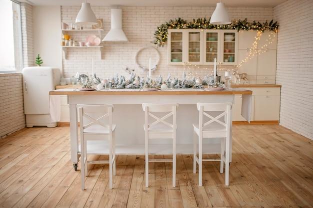 Festive winter cozy kitchen