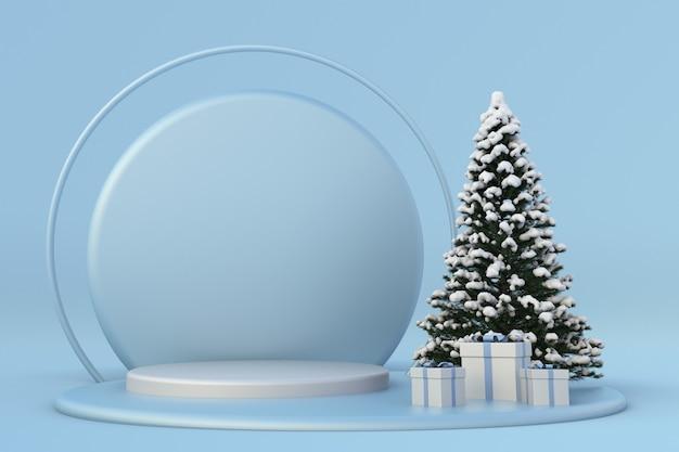 お祝いの冬新年3d構成青い表彰台お祝いのテンプレート雪に覆われたクリスマスツリー