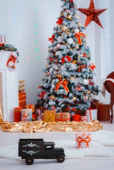 Festively decorated christmas tree.