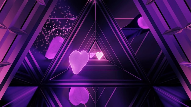 Festively illuminated hallway with beautiful abstract purple light effects and hearts