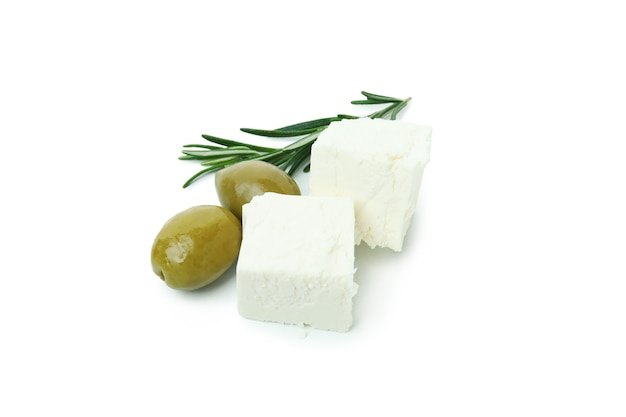 Feta cheese, olives and rosemary isolated on white