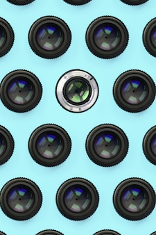 A few camera lenses with a closed aperture pattern
