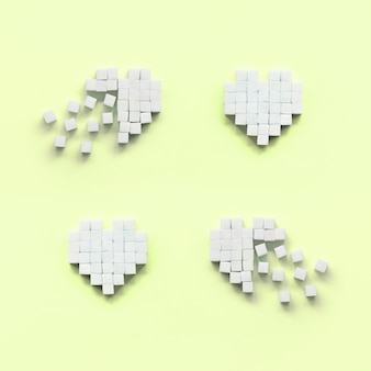A few hearts made of sugar cubes lies on a trendy pastel lime