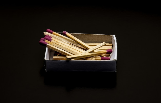 Few scattered matchsticks above a small box on dark background