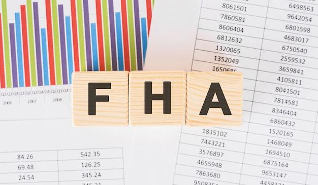 Слово fha написано на деревянном блоке. текст часто задаваемых вопросов на столе, концепции.
