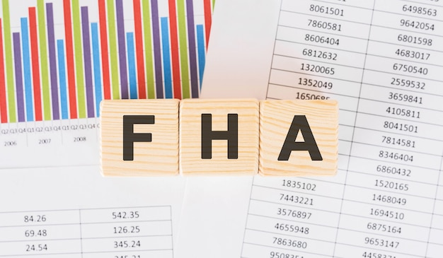 Fha word written on wood block. faqs text on table, concept.